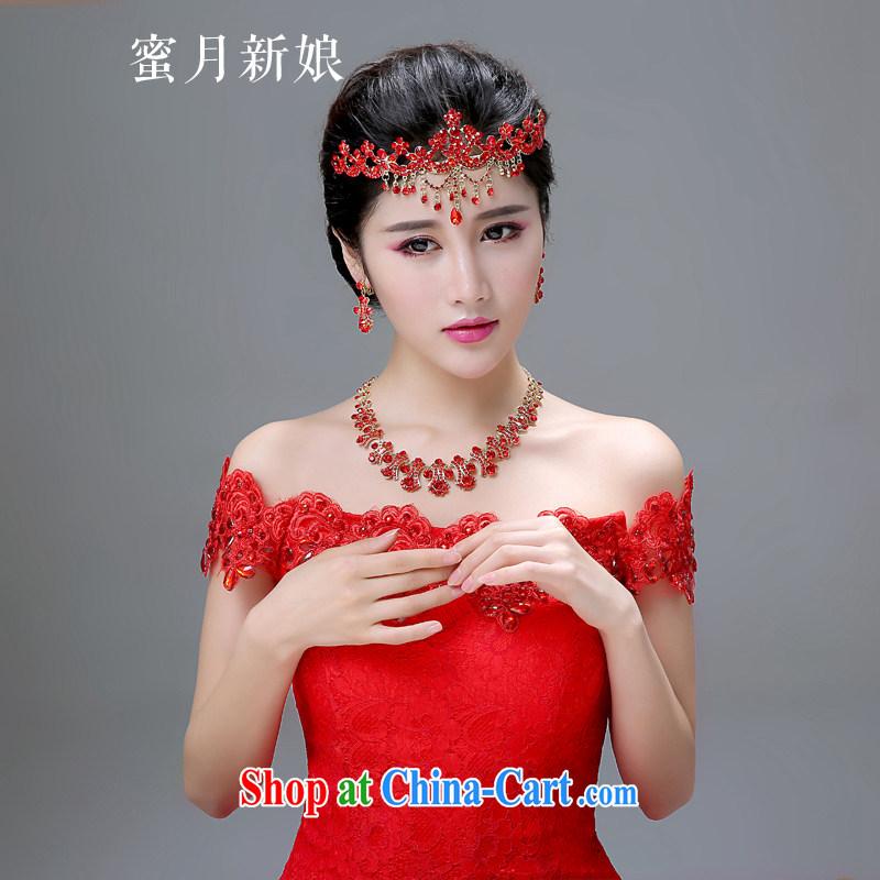 Honeymoon bridal bride-trim red Korean-style wedding hair accessories wedding dresses accessories Post Link Crown earrings wedding-band magenta
