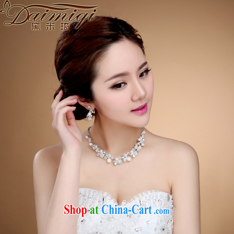 Bridal jewelry Korean-style necklace earrings wedding hair accessories kit wedding accessories jewelry jewelry white