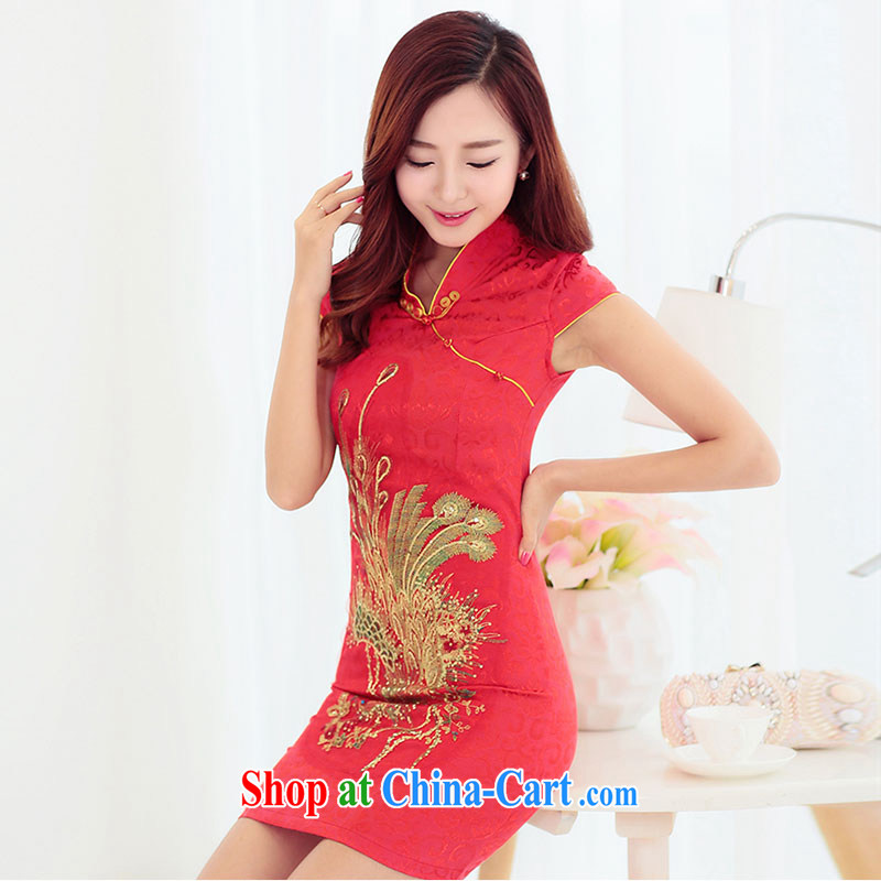 Yu Xiang Yu-na 2015 spring and summer NEW GRAPHICS thin embroidered hot drill cultivating cheongsam dress bridal toast back door red L