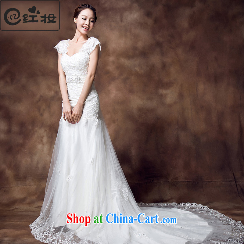 Recall that the red makeup new lace V Terrace for a field double-pack shoulder sweet Princess retro-tail crowsfoot wedding dresses H 12,133 white XL