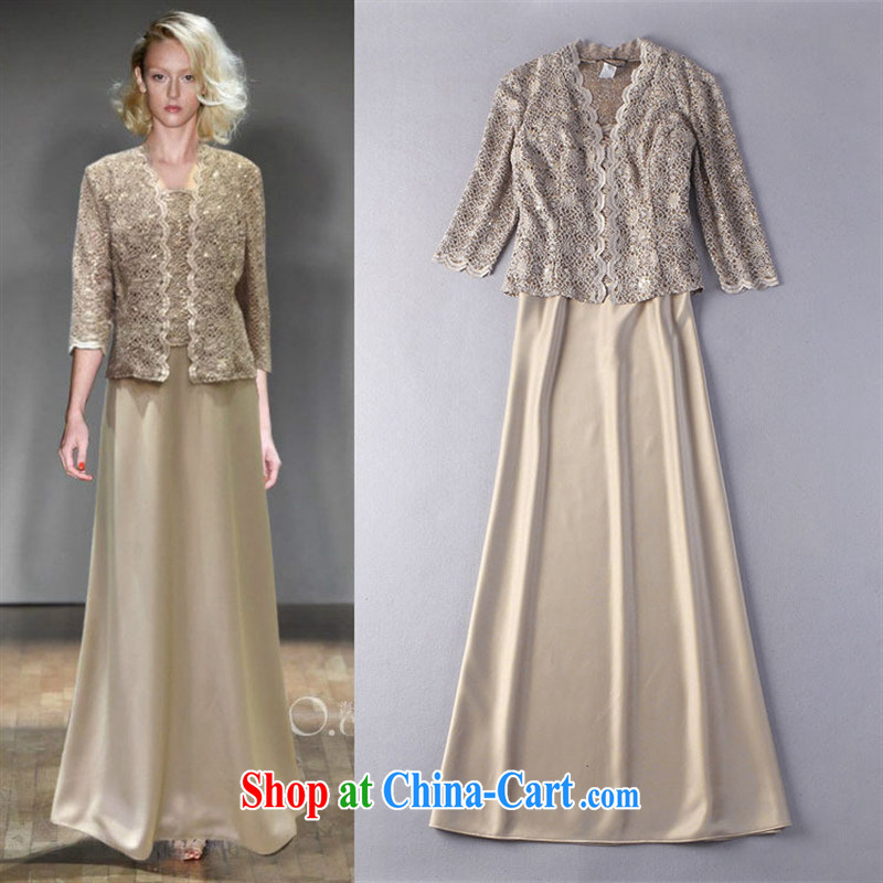 hamilton 2015 spring and summer Europe ladies embroidered staples, shawl jacket + stitching straps long skirt two piece dress gold 12