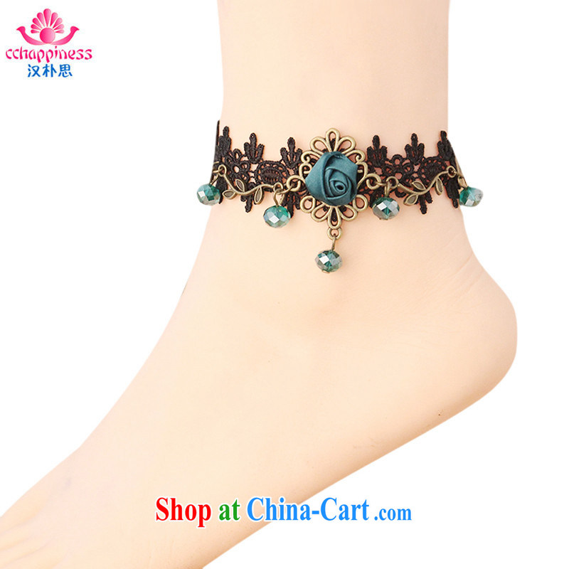 Han Park _cchappiness_ Europe and North America retro fashion chains only American roses black lace personalized sense pin high jewelry green