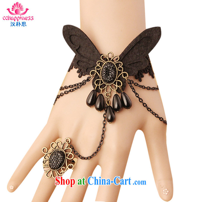 Han Park _cchappiness_ Europe and the wind retro female Hand chain with ring one link lace ornaments, black