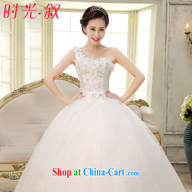 Time Syria, Japan, and South Korea wedding dresses dress 2015 new spring and summer Korean style single shoulder flowers larger graphics thin female white L