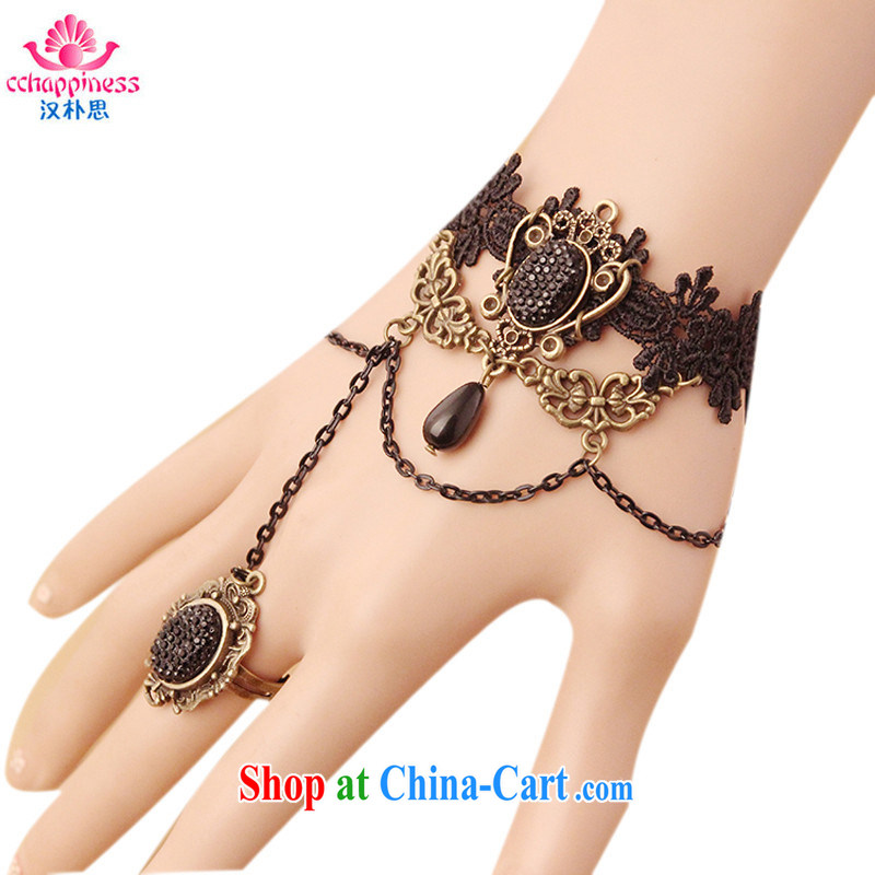 Han Park (cchappiness) Europe original Manual Palace new retro lace hand chain with rings