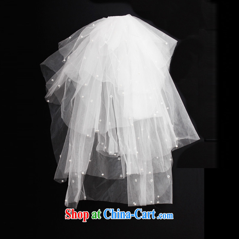 DressilyMe minimalist modern and lively modern 6 storey soft Web seamless Pearl bridal wedding and legal - ivory - 78 CM