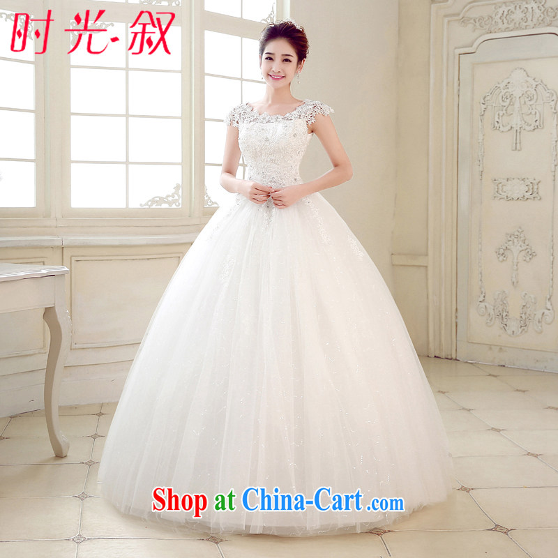Time Syria, Japan, and South Korea wedding dresses 2015 spring and summer new marriages shoulders retro round-collar lace field shoulder wedding white XXL