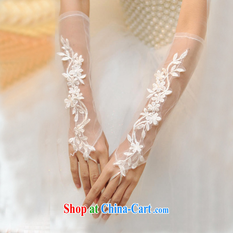 DressilyMe elegant lace decals soft yarn bridal wedding gloves - ivory - 30 cm - 5 day shipping