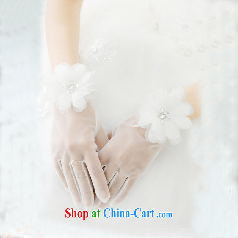 DressilyMe elegant sweet fine Web yarn manually take wrist long bridal wedding gloves - White - 20 - 25 CM