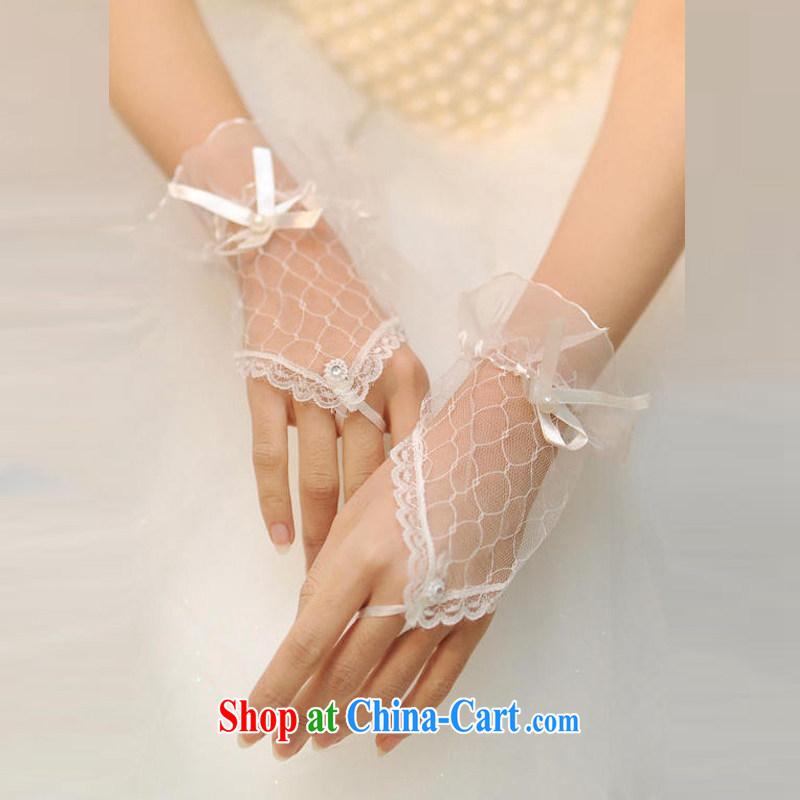 DressilyMe elegant web yarn short wrist length bridal gloves - ivory - 20 cm - 5 day shipping