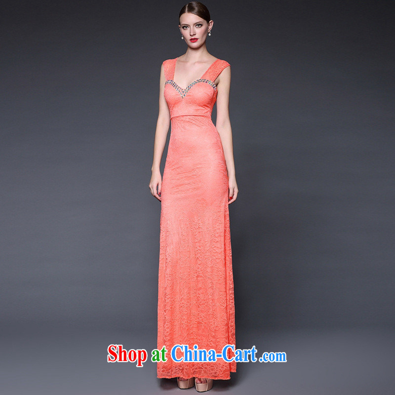 2015 European and American female summer new manually staple Pearl lace shoulder long dress dresses W 0125 red-orange are code