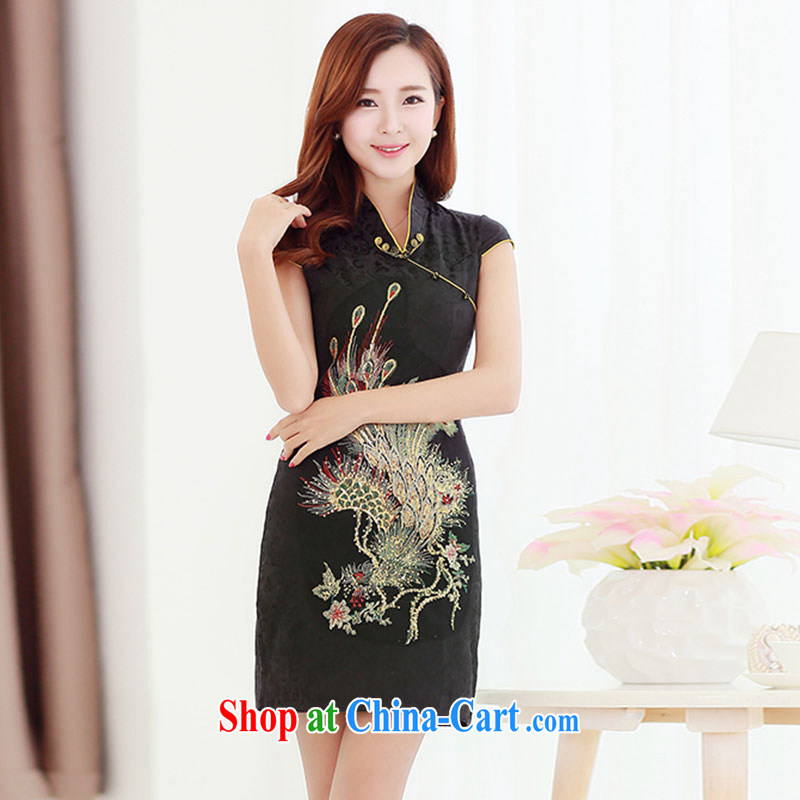 their nests, 2015 spring and summer NEW GRAPHICS thin embroidered hot drill cultivating cheongsam dress bridal toast back door black XL