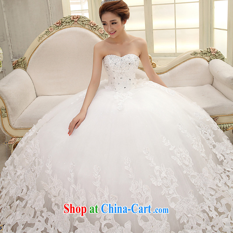 wedding dresses new 2015 the code white tail Korean Princess long-tail Deluxe bare chest parquet drill embroidery graphics thin wedding pleasant bride-tail XXL