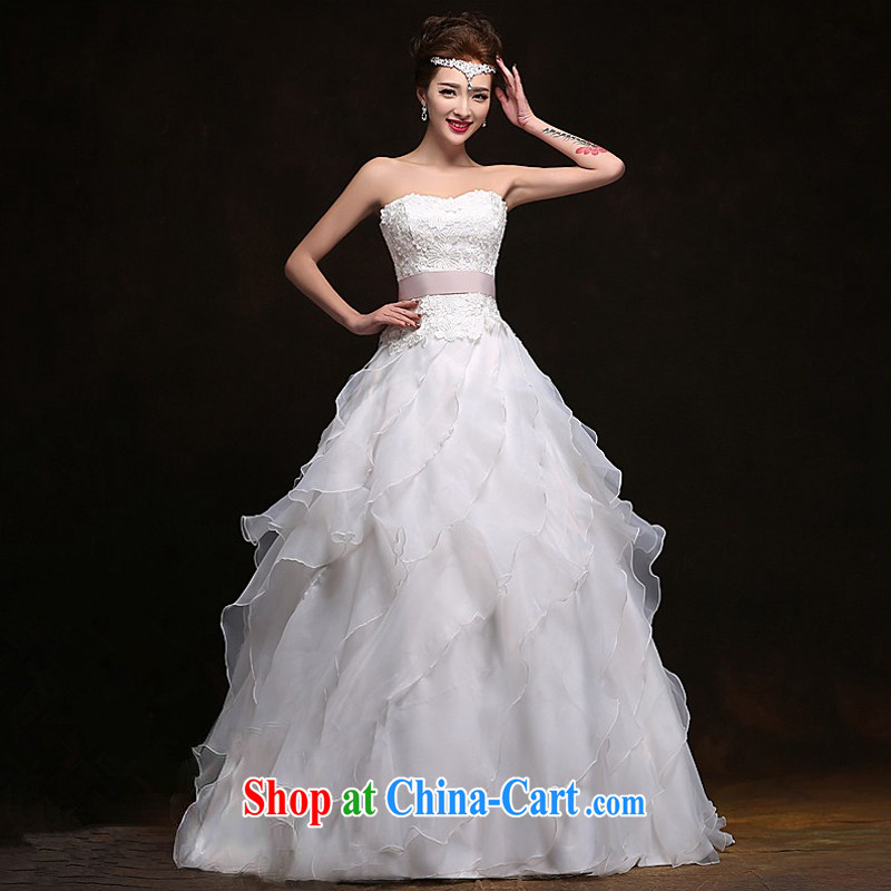 Spring and Summer new wedding dresses stylish small tail flouncing, Shaggy dress Palace shoulders bare chest parquet drilling bridal wedding dresses Home yarn white erase chest XS