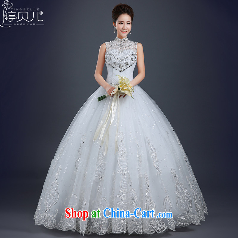 Ting Beverly wedding dresses spring 2015 new stylish marriages wedding summer Korean code with a sleeveless bridal wedding wood drill lace wedding white XXL
