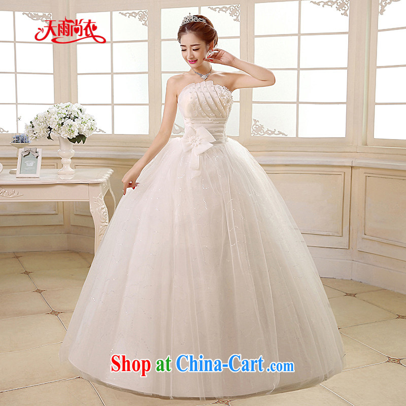 Rain is still Yi 2015 new wedding dress white Princess Mary Magdalene chest stylish graphics thin large code staples Pearl flowers with bridal wedding HS 890 white tailored