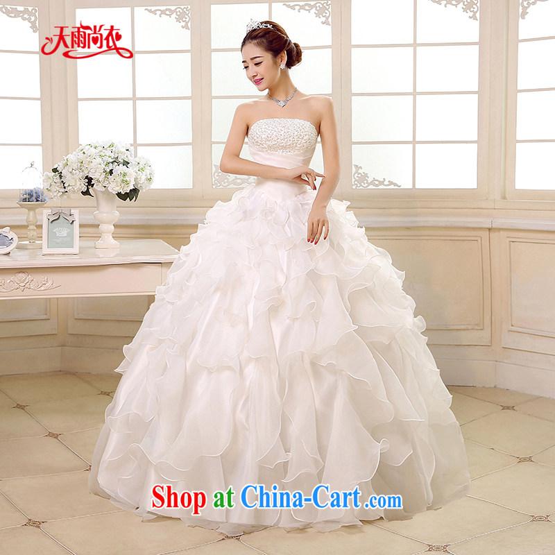 Rain is still Yi 2015 new bride wedding dress white Princess Mary Magdalene chest stylish upmarket graphics thin large code staples beads with wedding HS 889 white tailored