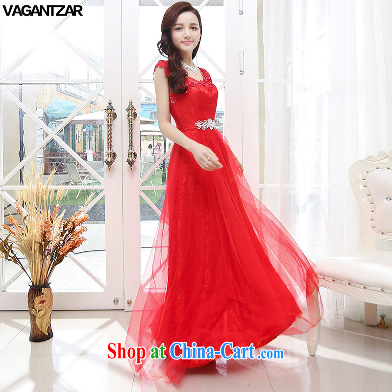 2015 VAGANTZAR New Name-yuan dress small Hong Kong has no cuff long beauty, upscale wedding dresses wedding dress red XL