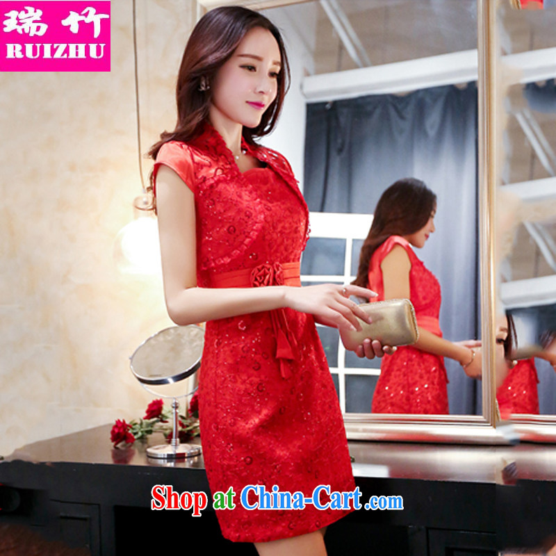 Shui bamboo 2015 Spring Summer Fall with new stylish marriages big red dress beauty sleeveless further dress shawl two-piece embroidery lace, dinner toast red XXXL