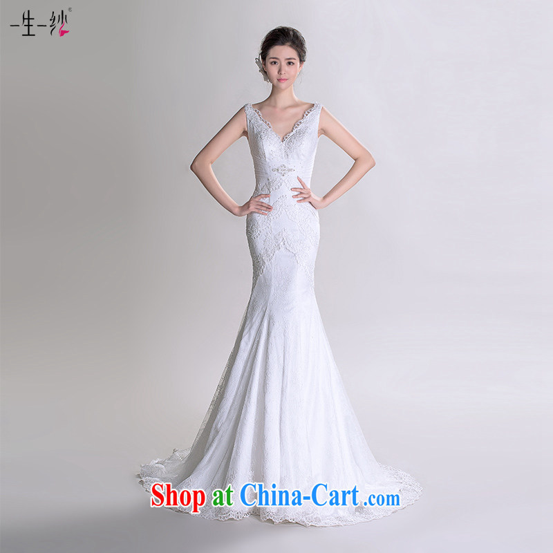 Chen Jing Dong fall in love with a model with dual-shoulder crowsfoot wedding-tail 2015 new bridal wedding dresses summer 402501289 white tailored does not return does not switch