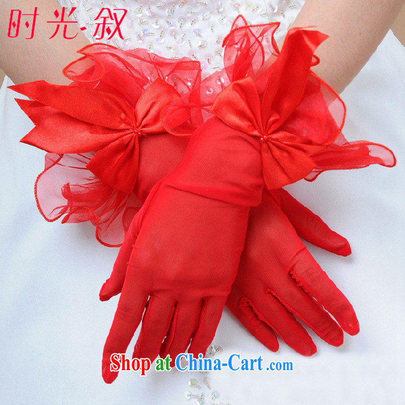 Time his bride's wedding accessories gloves red short Web yarn gloves spring and summer bridal wedding dresses gloves red are code