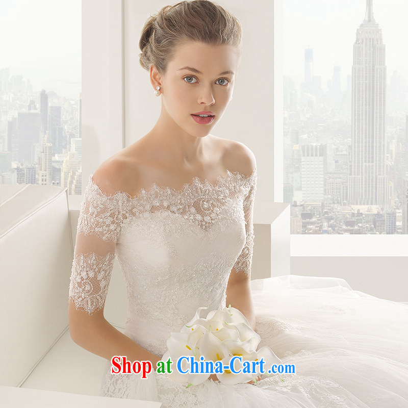 A bare shoulders chest bridal wedding dresses long-tail new 2015 spring and summer simple lace beauty small trailing the field shoulder straps, M