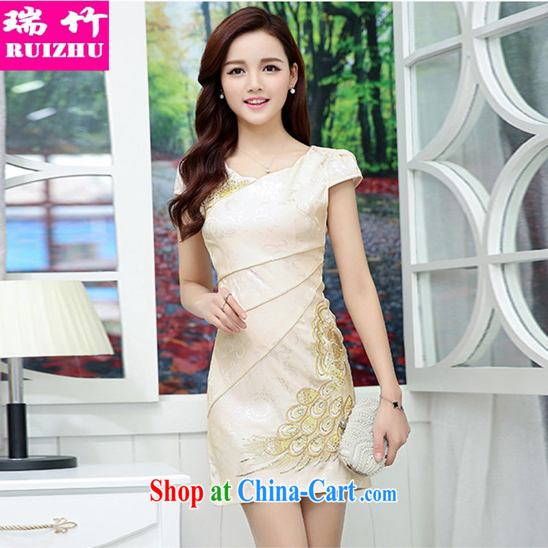 Shui bamboo 2015 Spring Summer Fall new Chinese Antique improved cheongsam embroidered wedding Chinese Dress beauty graphics thin hotel KTV clothing short-sleeved dresses white and yellow XXL