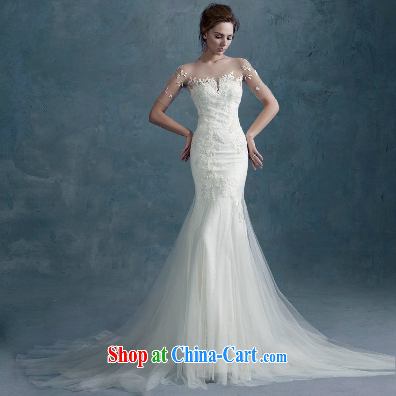 2015 spring and summer new stylish one shoulder lace beauty graphics thin-waist crowsfoot wedding dresses small tail custom white tailored