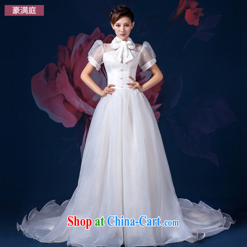 wedding dresses new 2015 long-tail affect theme clothing larger custom double-shoulder short sleeve one shoulder wedding white XL