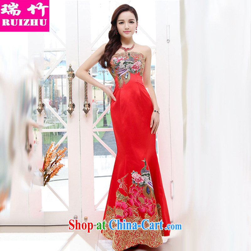 Shui-bamboo 2015 spring and summer and autumn, the bare chest wedding Golden Phoenix embroidery crowsfoot dragging skirts sexy elegant evening dress beauty toasting banquet hosted annual service royal blue XL
