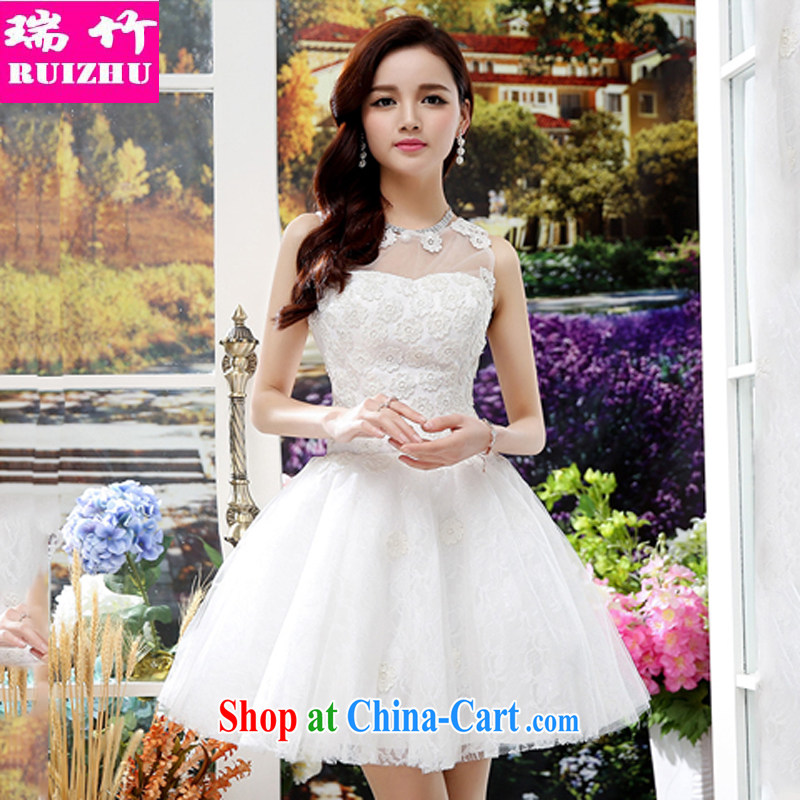 Shui bamboo 2015 spring summer and autumn, the bare chest-sweet wedding dresses shaggy ballet skirt silk dresses with flowers beauty thin waist straps back exposed sleeveless dresses white XL