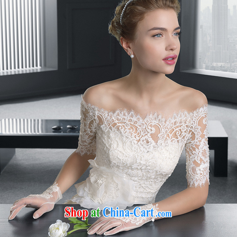 A bare shoulders chest bridal wedding dresses 2015 spring and summer new minimalist A field with lace beauty small trailing the Field shoulder, L