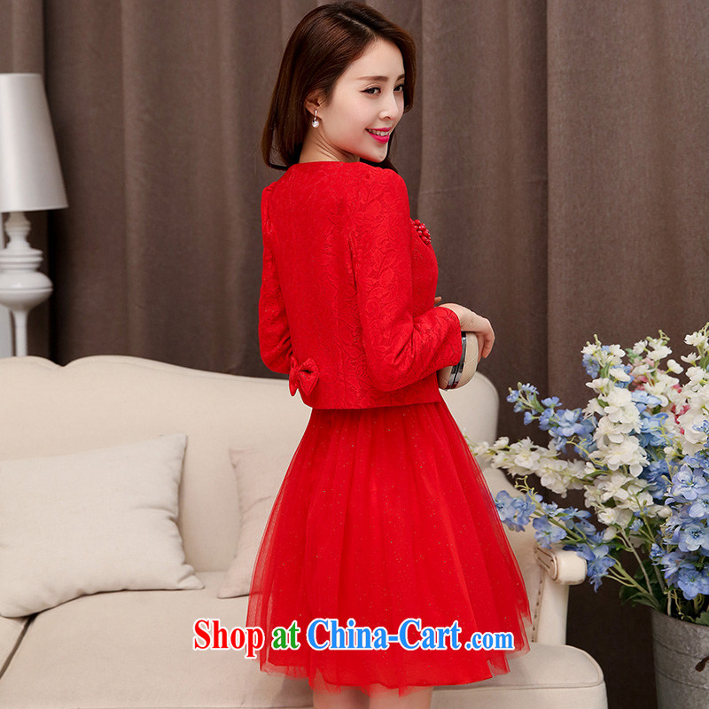 Sweet dreams, marriages toast serving pregnant women wedding dress 2015 new short red banquet autumn bridesmaid clothing red XXL