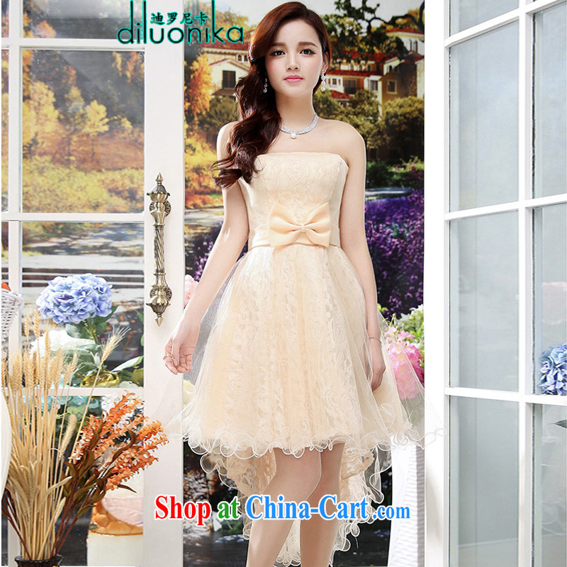 Law, the 2015 summer elegant lady snow woven embroidery sleeveless dresses dress the skirt with sister bridesmaid clothing apricot M