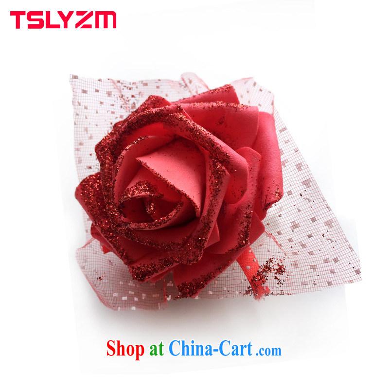 Tslyzm bridal wedding dresses wrist bonus rose, wrist strap flower wedding accessories red