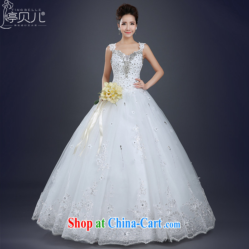 Ting Beverly wedding dresses shoulders 2015 spring and summer New Field shoulder with Korean-style bridal white simple drill beauty wedding white XXL
