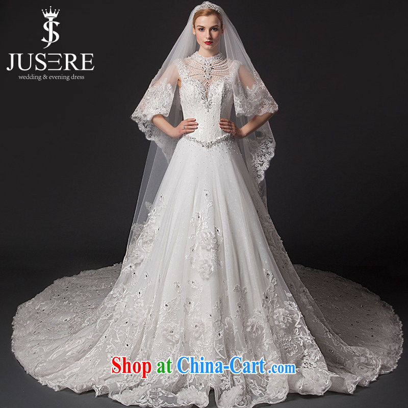 It is not the JUSERE high-end wedding dresses 2015 new stylish wedding with Openwork erase chest nails Pearl package shoulder marriages a waist high-tail white tailored