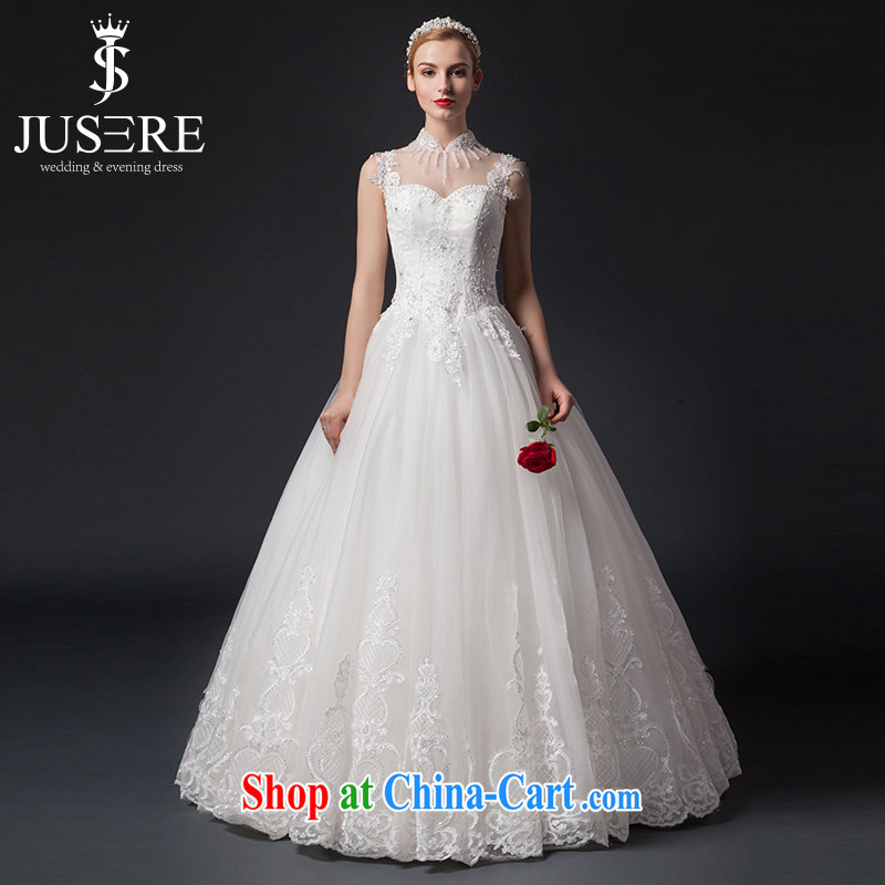 It is the JUSERE high-end wedding dresses spring 2015 double-shoulder wedding dresses, Japan, and South Korea wedding bridal wedding dress with wedding white tailored