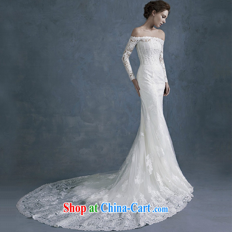 2015 spring and summer new stylish one shoulder retro long-sleeved lace cultivating the waist crowsfoot wedding dresses the tail tie-down, tailored