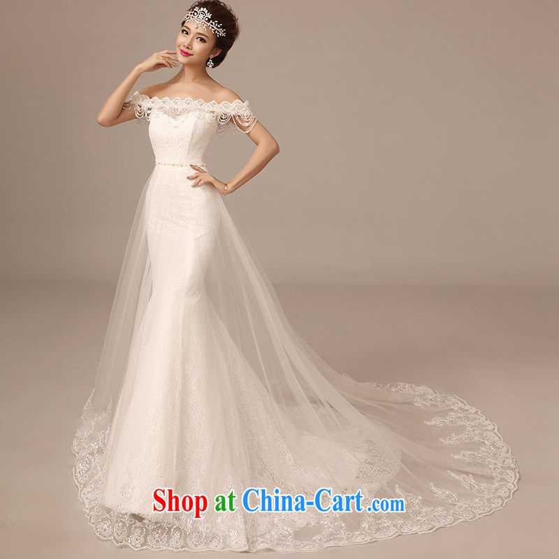 2015 spring and summer New Field shoulder collar crowsfoot wedding long-tail lace Pearl crowsfoot large tail wedding dresses white tailored