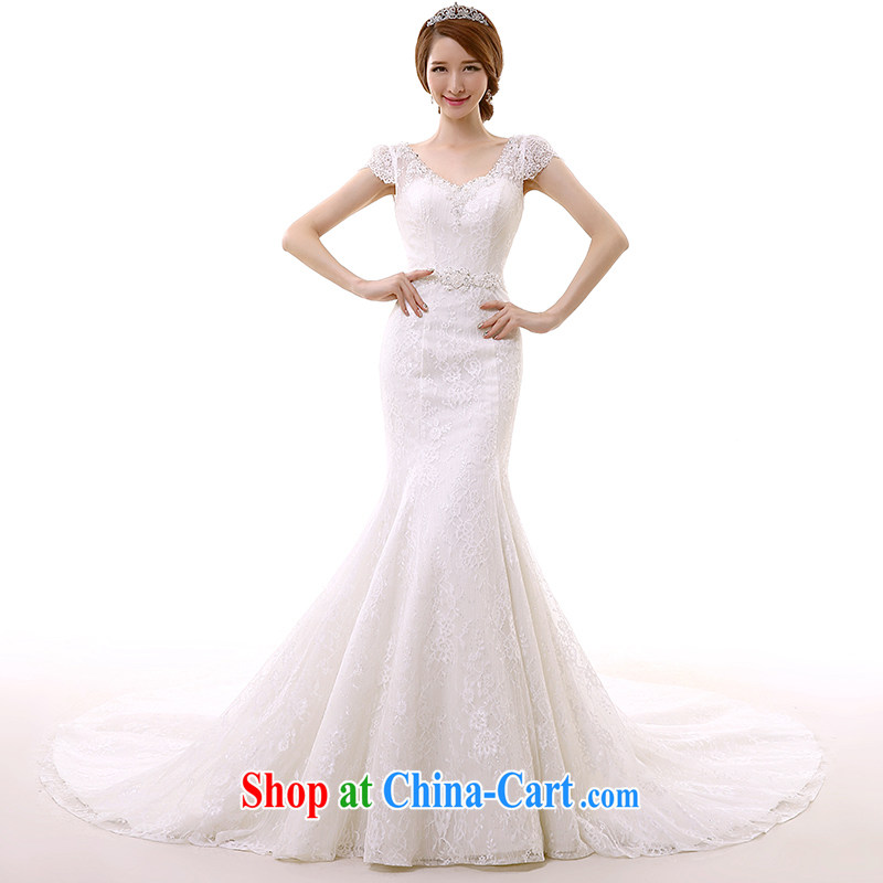 2015 spring and summer New Field shoulder crowsfoot wedding dresses long-tail double-shoulder V for cultivating lace the tail white tailored
