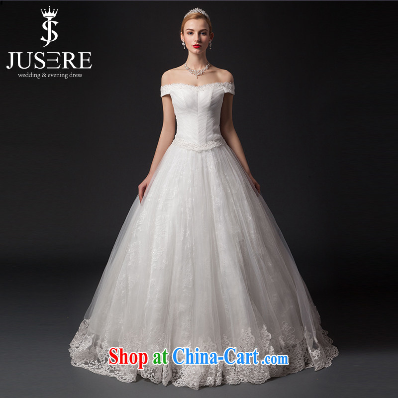 It is not the JUSERE high-end wedding dresses 2015 New Field shoulder bare chest-waist graphics thin Graphics High lace lace marriages with white 6