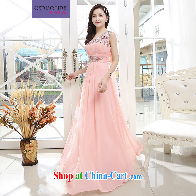 Style trend in summer 2015 ladies upscale Greek goddess long skirt wedding dress bridesmaid sister mission snow woven dresses bows skirt annual meeting presided over the ceremony dress pink XL