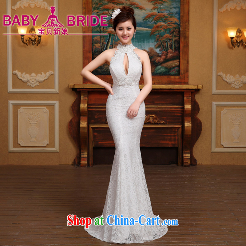 wedding dresses 2015 new lace hangs also received back at Merlion wedding beauty, white L