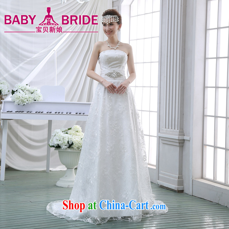 New 2015 wedding dresses bare chest small tail crowsfoot style beauty Korean bridal lace with the Code winter white L