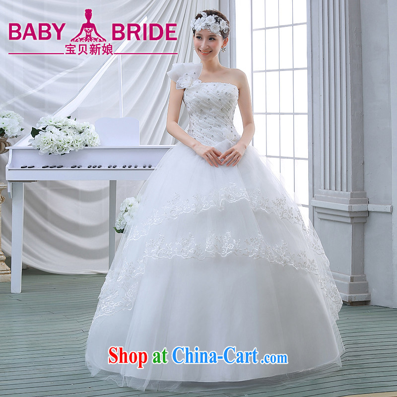 wedding dresses 2015 new spring and summer and stylish single shoulder flowers wood drill with wedding, thick mm video thin female white L