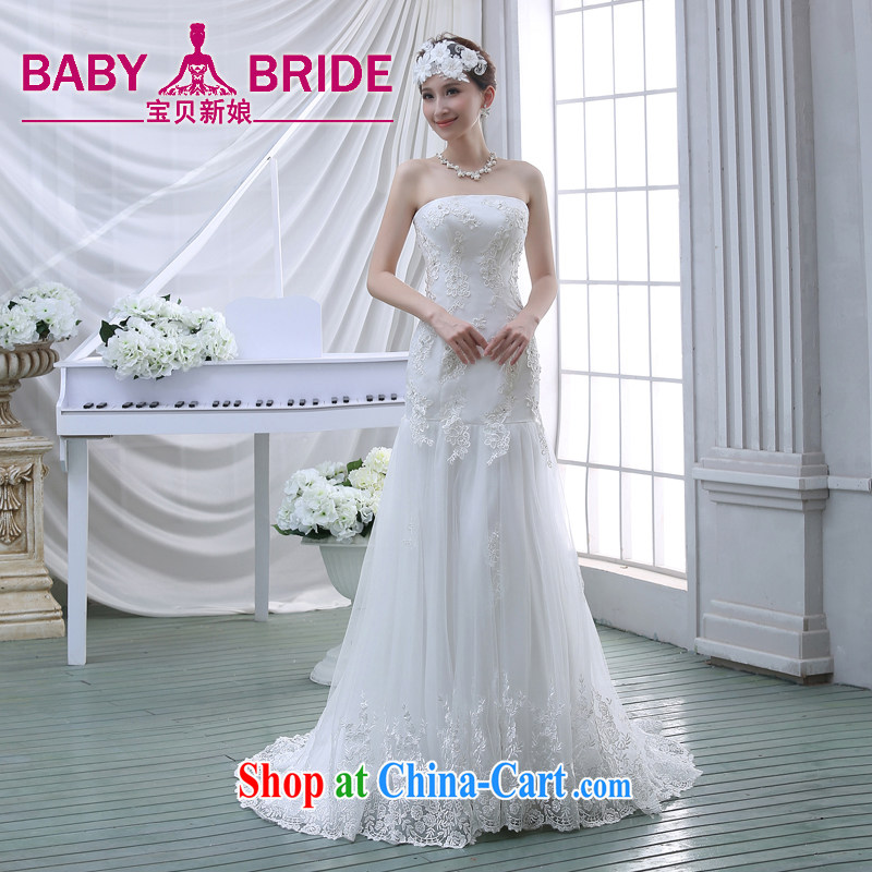 bare chest small tail wedding dresses new 2015 bridal simple Korean A field dress crowsfoot lace beauty with white L