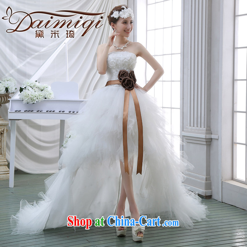 Spring 2015 new high short before long wedding feather wedding chest bare small tail marriages, short-tail white M