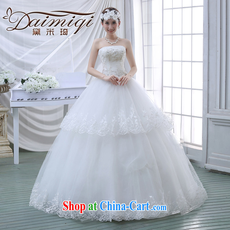 Spring 2015 new wedding dresses flowers lace retro tied with Korean Princess sweet wiped his chest, wedding white S