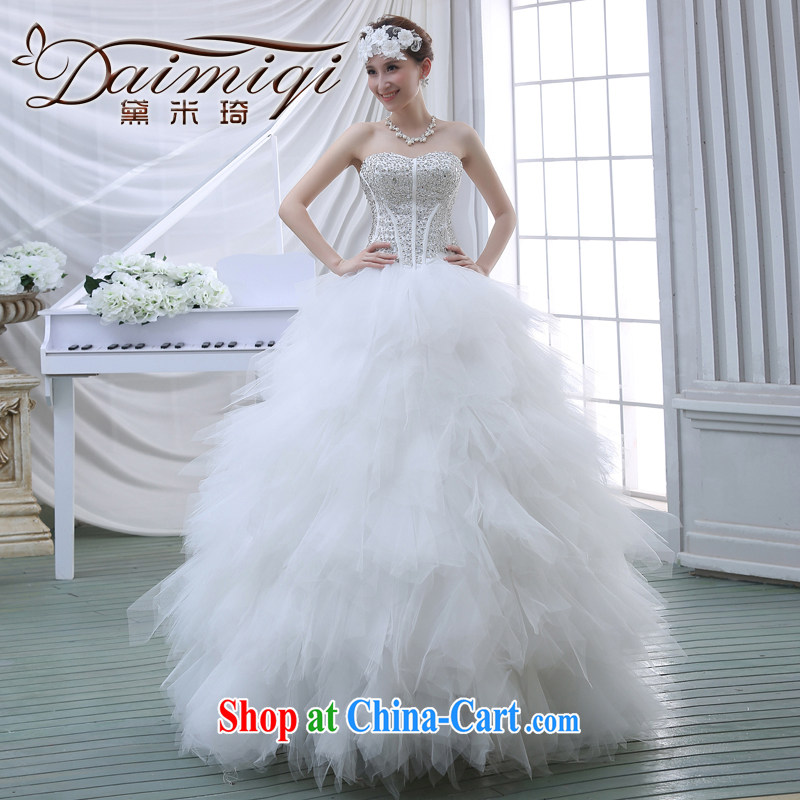2015 New High-tail erase chest Korean water drilling shaggy skirts 7 bridal wedding dresses white M